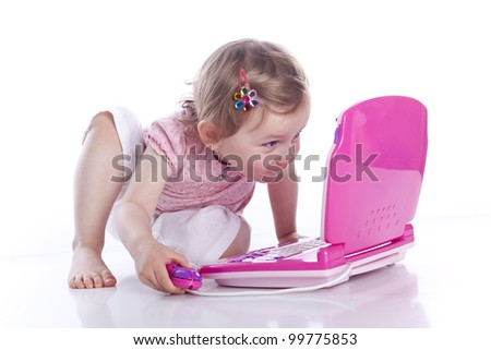 baby with notebook on white background - stock photo