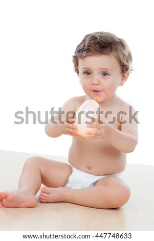 Baby with one years old doing funny gestures isolated on white background  - stock photo
