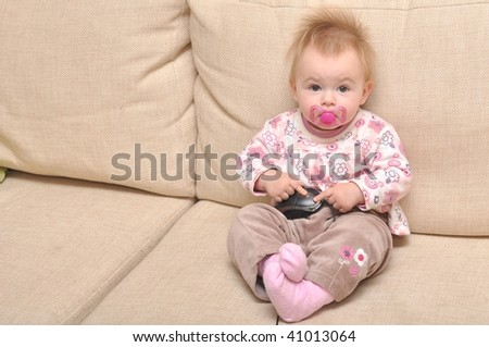 baby with pc mouse - stock photo
