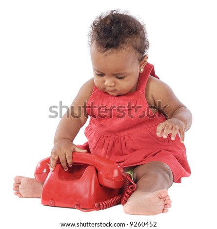 Baby with red phone a over white background - stock photo