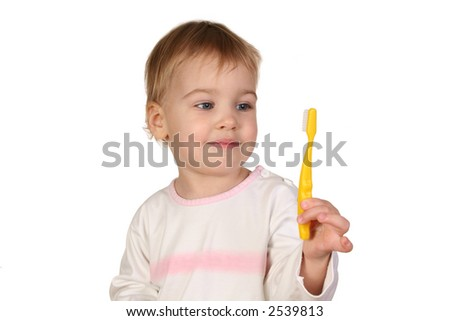 baby with tooth brush - stock photo