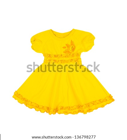 baby yellow dress isolated on white background - stock photo