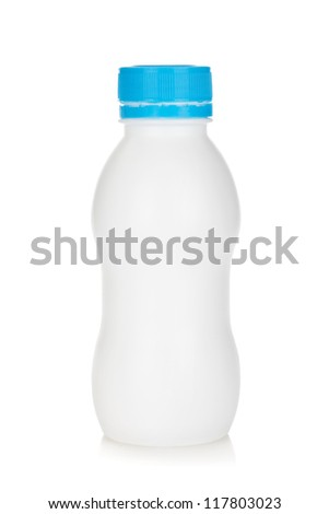 Baby yoghurt bottle. Isolated on white background - stock photo
