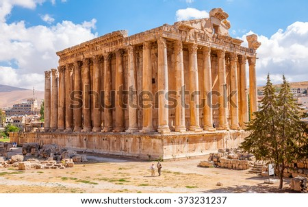 Bacchus temple at the Roman ancient ruins of Baalbek, Lebanon - stock photo