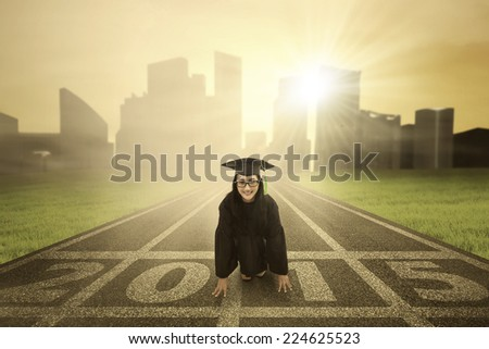 Bachelor is ready to run on track and compete in the future 2015 - stock photo