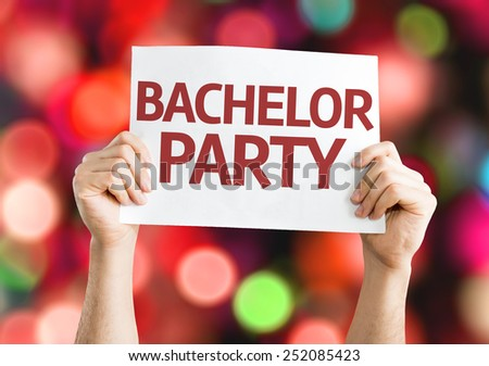 Bachelor Party card with colorful background with defocused lights - stock photo