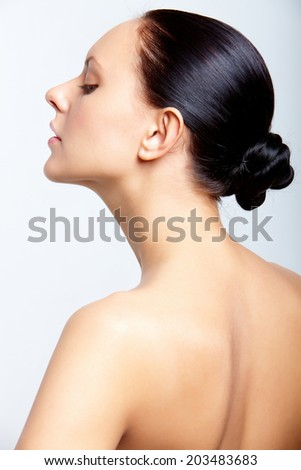 Back and profile of perfect woman in isolation - stock photo