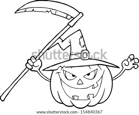 Back And White Scaring Halloween Pumpkin With A Witch Hat And Scythe. Raster Illustration - stock photo