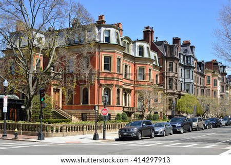 Back Bay apartments, residential district - stock photo