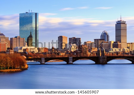 Back Bay Boston Skyline on a Summer Afternoon - stock photo
