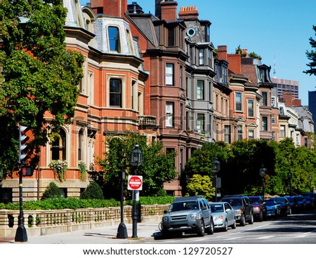 Back Bay Brownstones - stock photo