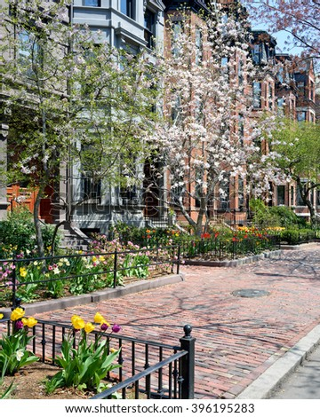 Back Bay residential district in mid spring - stock photo