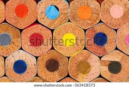 back color pencils - stock photo