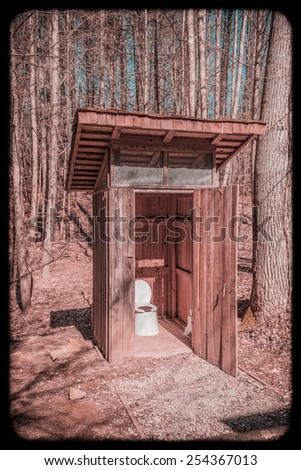 Back Country Outhouse #2  with Instagram Look - (Warming Filter Applied) - stock photo