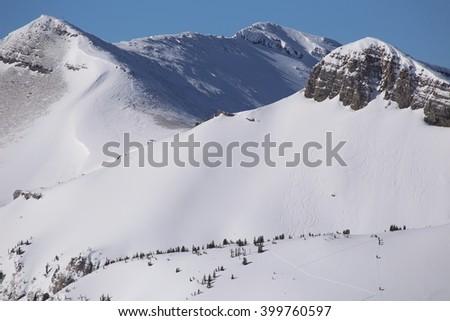 Back country skiing Teton Mountains, Wyoming - stock photo