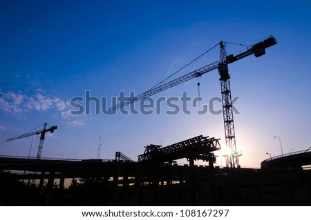 Back light construction site in Belgrade - stock photo