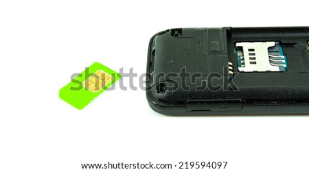 Back mobile phone and sim card  - stock photo