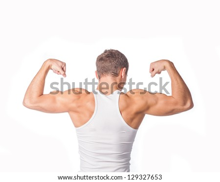 Back of a champion body builder - stock photo