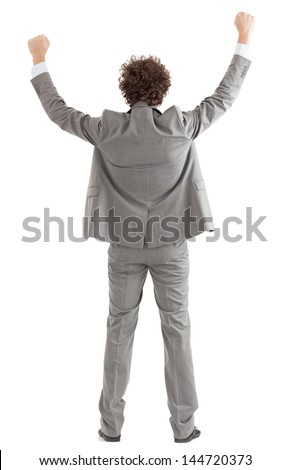 Back of a happy businessman raising his arms. - stock photo