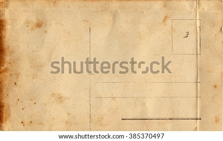 Back of a vintage postcard. Rich stain and paper details. Can be used as background. - stock photo