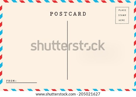 Back of airmail blank postcard. - stock photo