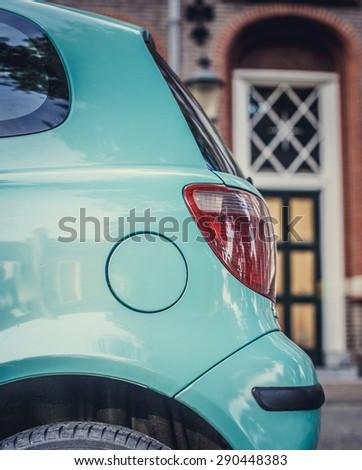 Back of azure car. - stock photo