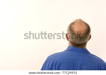 Back of business man with bald head - stock photo