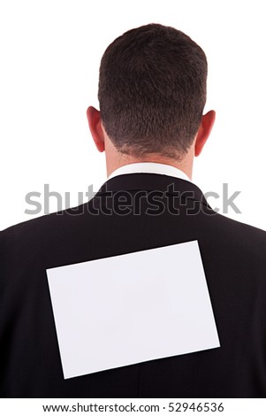 back of businessman, with a paper , isolated on white background, studio shot. - stock photo