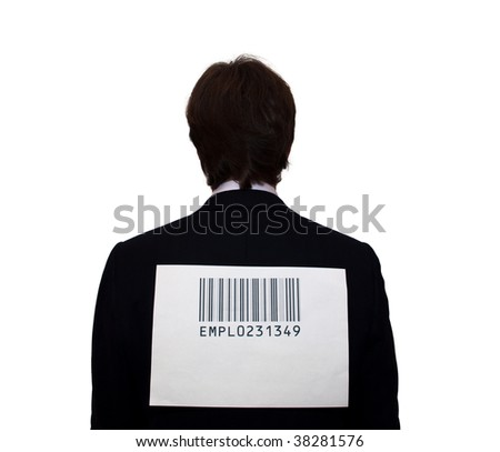 Back of businessman with barcode, isolated on white. Humor concept - stock photo