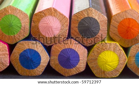 back of colorful pencils - stock photo