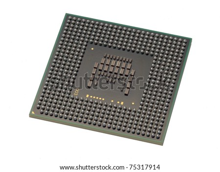 Back of computer processor showing ball grid array - stock photo