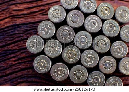 Back of emppty bullets - stock photo