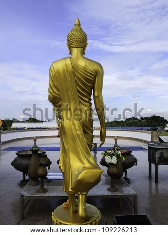 back of golden buddha statue - stock photo
