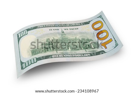 Back of new one hundred dollar bill isolated on white - stock photo