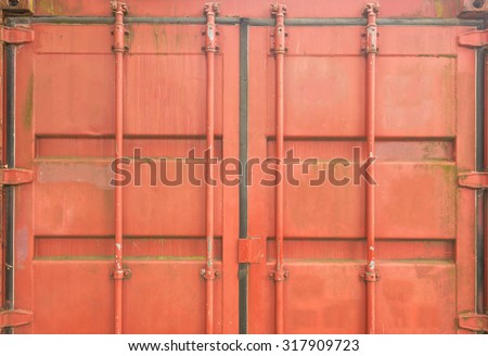 back of old red container  background. - stock photo