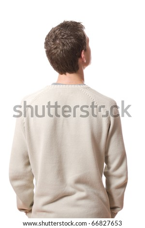 back of pensive young man looking up isolated on white background - stock photo