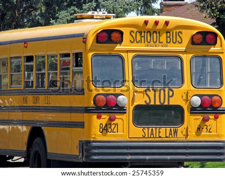 back of public state county school bus - stock photo
