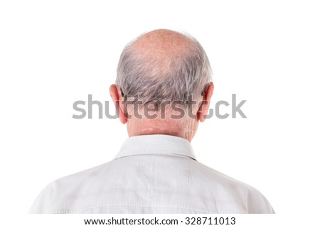 Back of the bald head of old man in shirt. Back view. Isolated on a white background. - stock photo