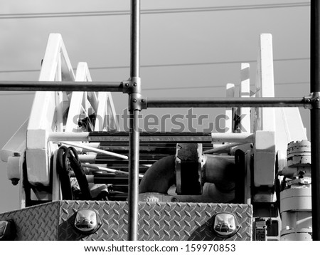 Back of the fire truck at the fire station. - stock photo
