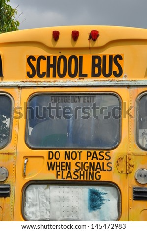 Back of the school bus - stock photo