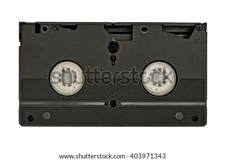 Back of VHS Tape Isolated On White Background - stock photo