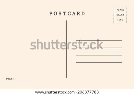 Back of vintage blank postcard - stock photo
