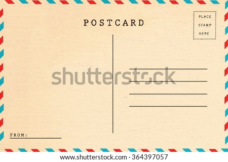 Back of vintage blank postcard - stock photo