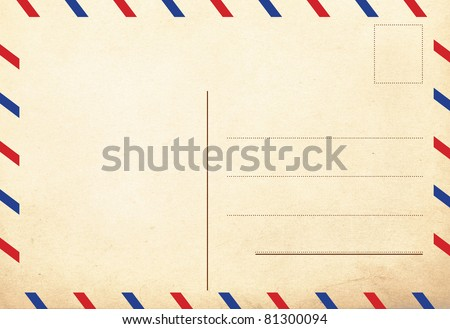 back of vintage postcards, air decor - stock photo