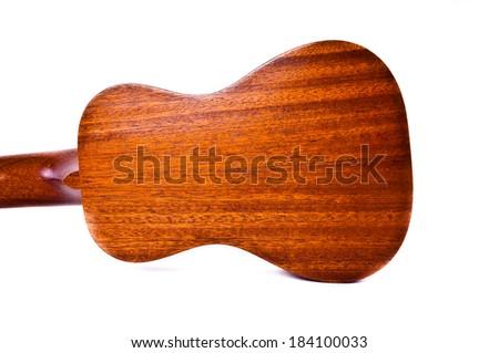Back of wooden Ukulele isolated on white for background and texture. - stock photo