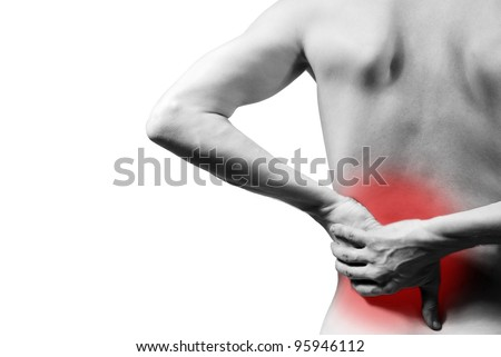 back pain and back pain indicated - stock photo