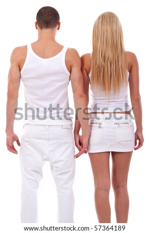 back picture of a couple holding hands. Isolated on a white background. - stock photo
