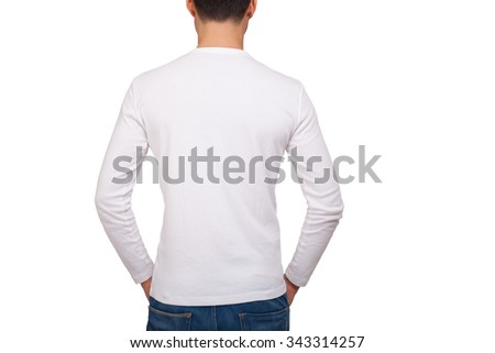 Back portrait of a man wearing a white t-shirt with long sleeves - stock photo
