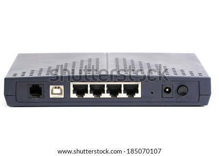 Back side of a modem, wired type.  - stock photo