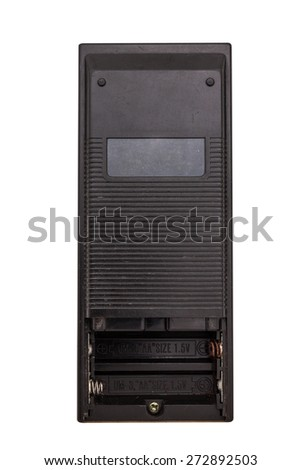 Back side of old remote control for television isolated on white with clipping path - stock photo